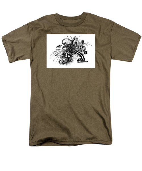 Men's T-Shirt  (Regular Fit) featuring the drawing Pen And Ink Drawing Rose by Saribelle Rodriguez