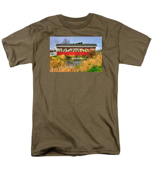 Pennsylvania Country Roads - Oregon Dairy Covered Bridge Over Shirks Run - Lancaster County Men's T-Shirt  (Regular Fit) by Michael Mazaika