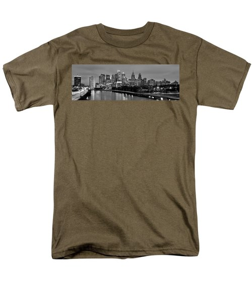 Men's T-Shirt  (Regular Fit) featuring the photograph Philadelphia Philly Skyline At Dusk From Near South Bw Black And White Panorama by Jon Holiday