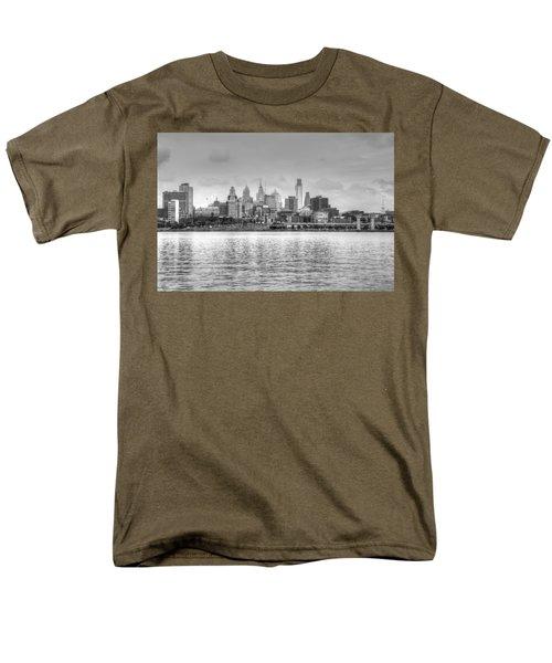 Philadelphia Skyline In Black And White Men's T-Shirt  (Regular Fit) by Jennifer Ancker