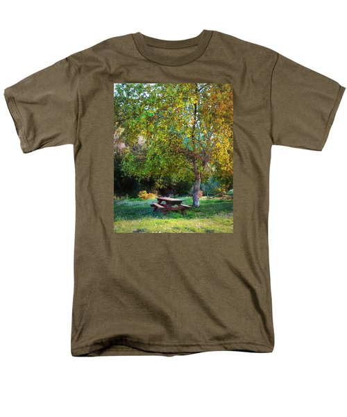 Men's T-Shirt  (Regular Fit) featuring the photograph Picnic Table by Timothy Bulone