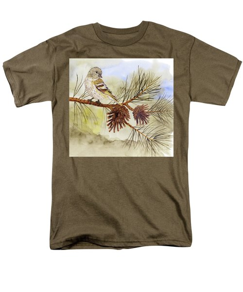Men's T-Shirt  (Regular Fit) featuring the painting Pine Siskin Among The Pinecones by Thom Glace