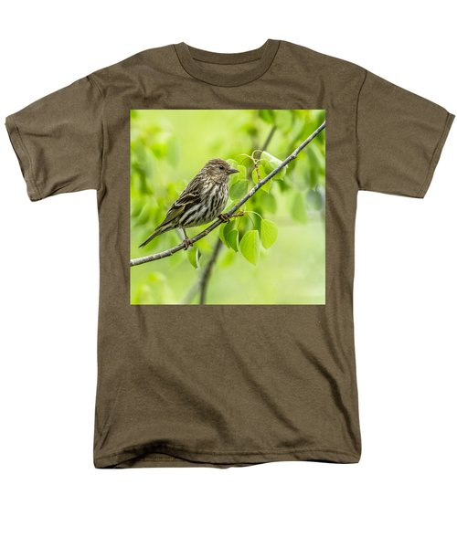 Pine Siskin On A Branch Men's T-Shirt  (Regular Fit) by Yeates Photography