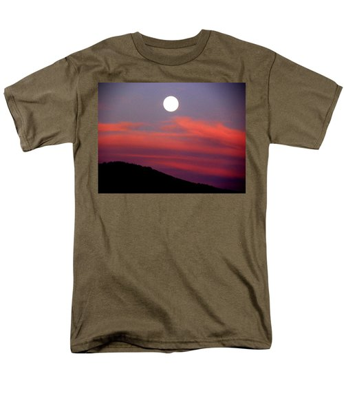 Men's T-Shirt  (Regular Fit) featuring the photograph Pink Clouds With Moon by Joseph Frank Baraba