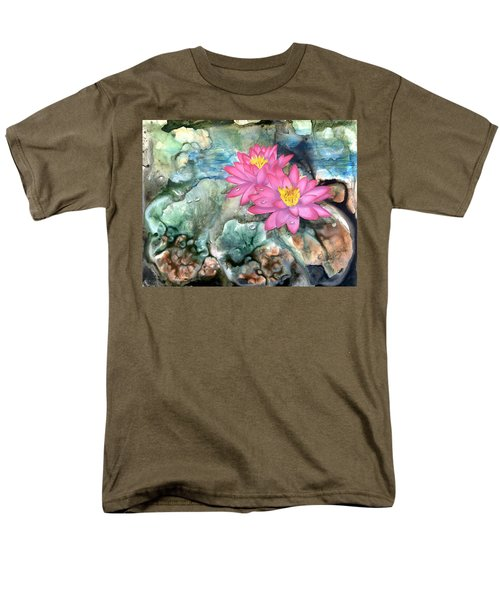 Men's T-Shirt  (Regular Fit) featuring the painting Pink Waterlily by Sherry Shipley