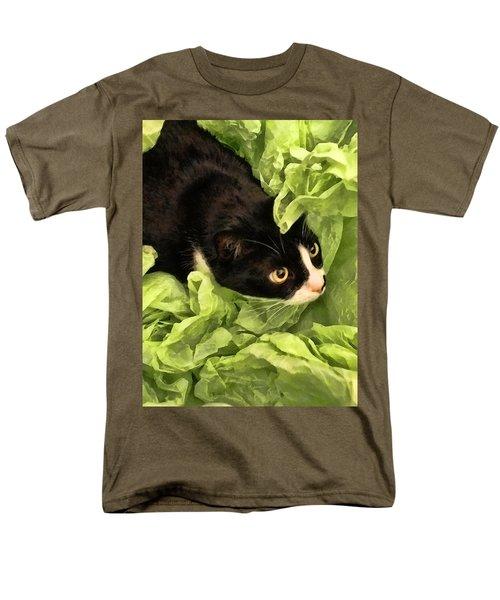 Playful Tuxedo Kitty In Green Tissue Paper Men's T-Shirt  (Regular Fit) by Kathy Clark