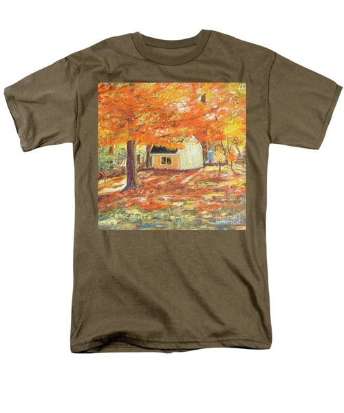Men's T-Shirt  (Regular Fit) featuring the painting Playhouse In Autumn by Carol L Miller