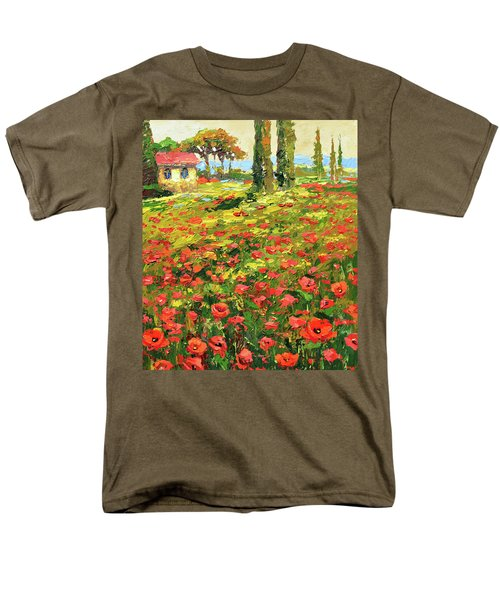 Men's T-Shirt  (Regular Fit) featuring the painting Poppies Near The Village by Dmitry Spiros
