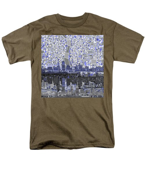 Portland Skyline Abstract Nb Men's T-Shirt  (Regular Fit) by Bekim Art