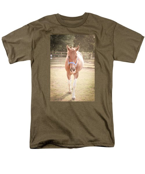 Men's T-Shirt  (Regular Fit) featuring the photograph Portrait Of A Light Brown Horse In A Pasture by Kelly Hazel