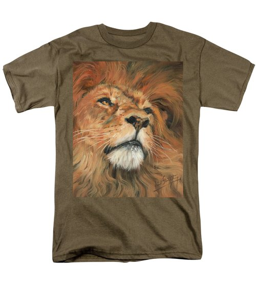 Men's T-Shirt  (Regular Fit) featuring the painting Portrait Of A Lion by David Stribbling