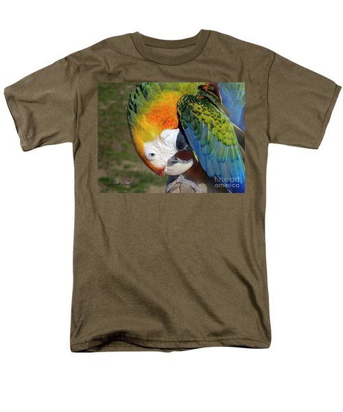 Preening Macaw Men's T-Shirt  (Regular Fit) by Melissa Messick
