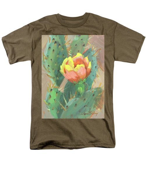 Men's T-Shirt  (Regular Fit) featuring the painting Prickly Pear Cactus Bloom by Diane McClary
