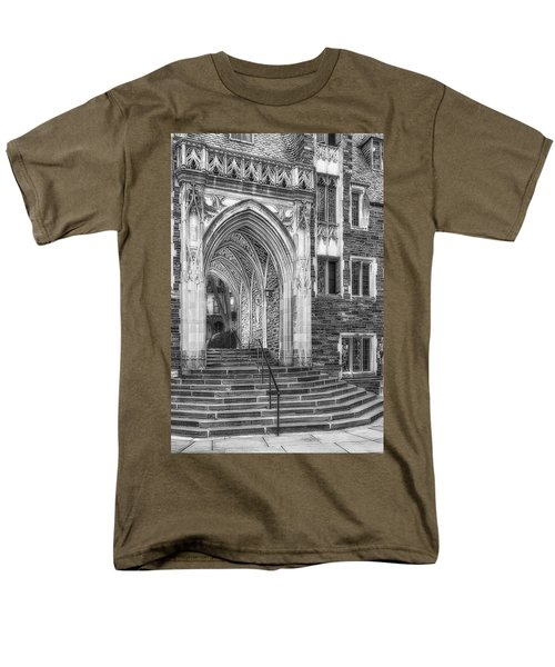 Men's T-Shirt  (Regular Fit) featuring the photograph Princeton University Lockhart Hall Dorms Bw by Susan Candelario