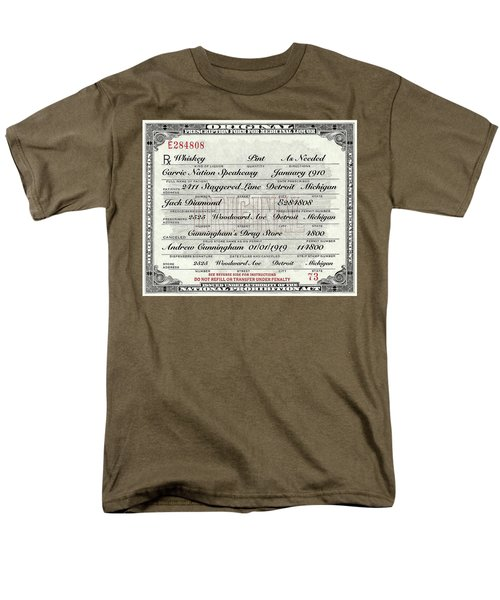 Men's T-Shirt  (Regular Fit) featuring the photograph Prohibition Prescription Certificate Carrie Nation Speakeasy by David Patterson