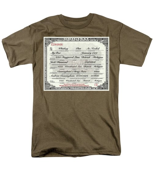 Men's T-Shirt  (Regular Fit) featuring the photograph Prohibition Prescription Certificate My Bar, by David Patterson