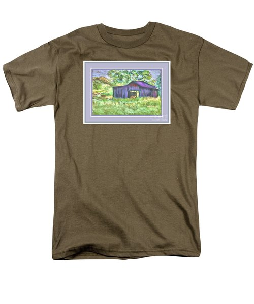 Purple Barn Grey Border Men's T-Shirt  (Regular Fit) by Shirley Moravec