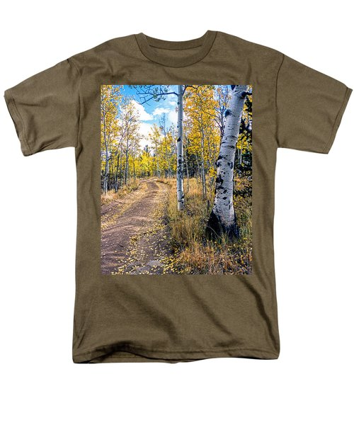 Aspens In Fall With Road Men's T-Shirt  (Regular Fit) by John Brink