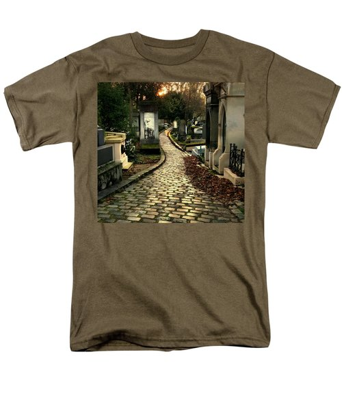 Men's T-Shirt  (Regular Fit) featuring the photograph  Pere Lachais Cemetery Road by Katie Wing Vigil