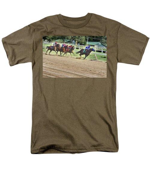 Men's T-Shirt  (Regular Fit) featuring the digital art Race Horses In Motion by Lise Winne