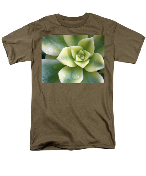 Men's T-Shirt  (Regular Fit) featuring the photograph Raindrops On The Succulent by Elvira Butler