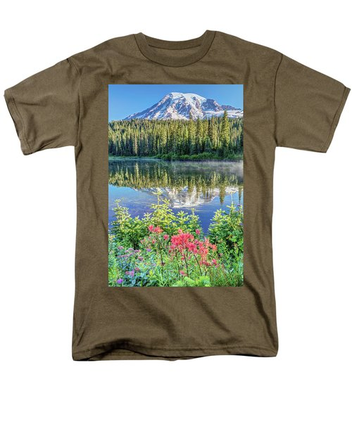 Rainier Wildflowers At Reflection Lake Men's T-Shirt  (Regular Fit) by Pierre Leclerc Photography