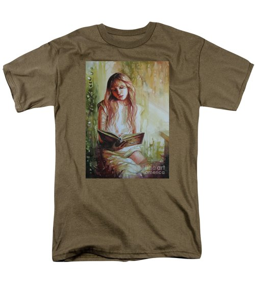 Men's T-Shirt  (Regular Fit) featuring the painting Reading by Elena Oleniuc