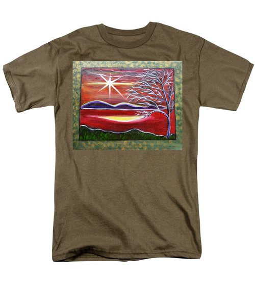 Red Abstract Landscape With Gold Embossed Sides Men's T-Shirt  (Regular Fit)