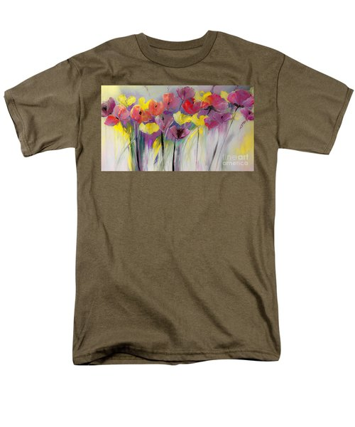 Red And Yellow Floral Field Painting Men's T-Shirt  (Regular Fit) by Lisa Kaiser