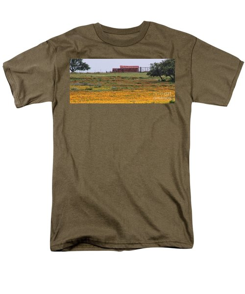 Red Barn In Wildflowers Men's T-Shirt  (Regular Fit) by Toma Caul