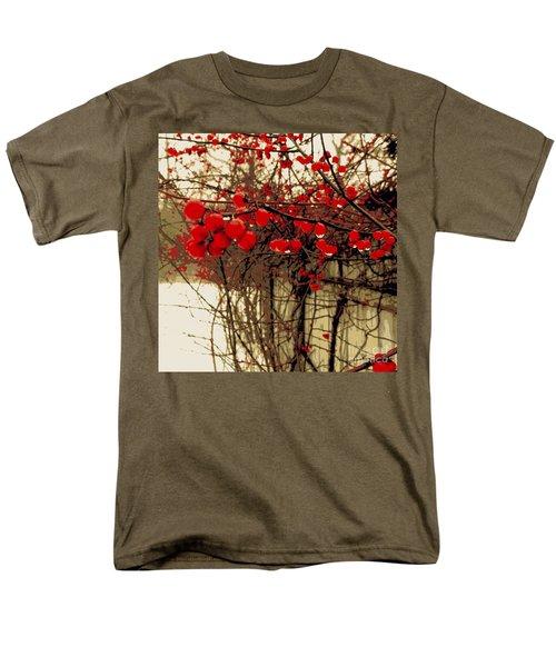 Red Berries In Winter Men's T-Shirt  (Regular Fit) by Susan Lafleur