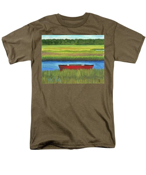 Men's T-Shirt  (Regular Fit) featuring the painting Red Boat - Assateague Channel by Arlene Crafton