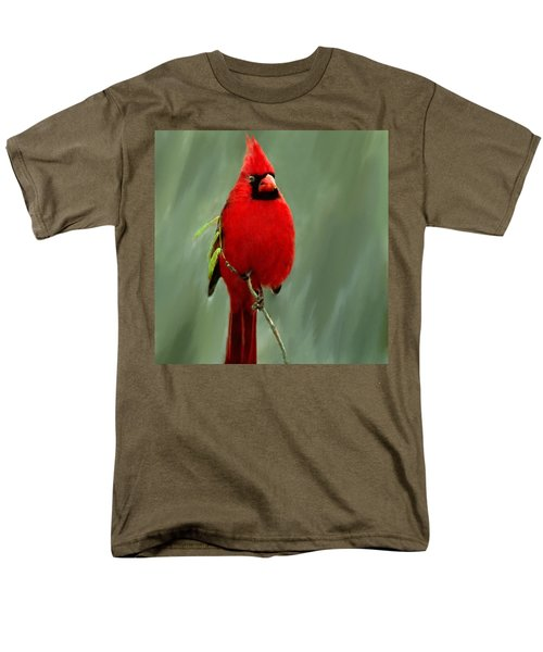 Red Cardinal Painting Men's T-Shirt  (Regular Fit) by Bob and Nadine Johnston