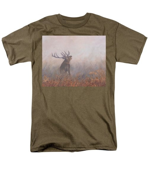 Red Deer Stag Early Morning Men's T-Shirt  (Regular Fit) by David Stribbling