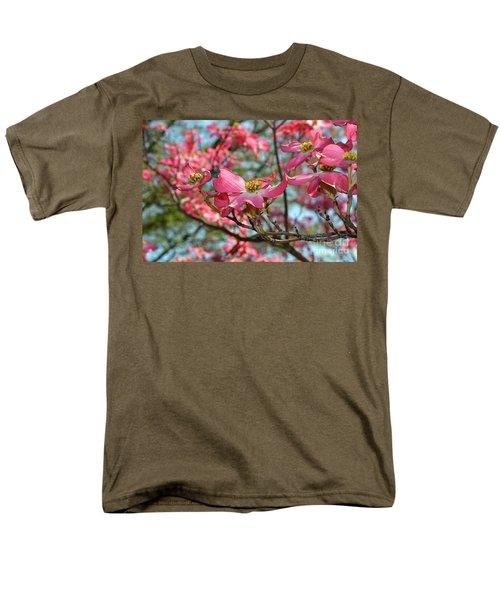 Red Dogwood Flowers Men's T-Shirt  (Regular Fit) by Eva Kaufman