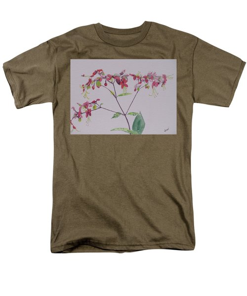 Men's T-Shirt  (Regular Fit) featuring the painting Red Flower Vine by Hilda and Jose Garrancho