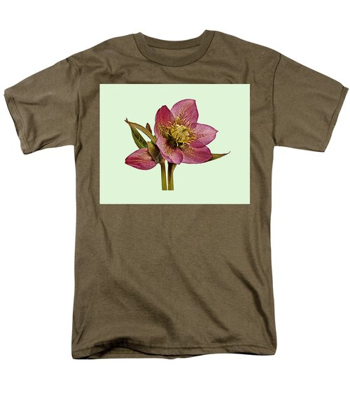 Red Hellebore Green Background Men's T-Shirt  (Regular Fit) by Paul Gulliver