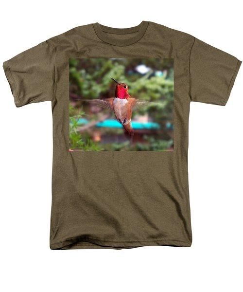 Men's T-Shirt  (Regular Fit) featuring the photograph Red Hummingbird by Joseph Frank Baraba