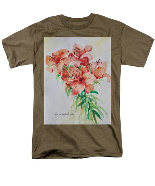 Red Lilies Men's T-Shirt  (Regular Fit) by Alexandra Maria Ethlyn Cheshire