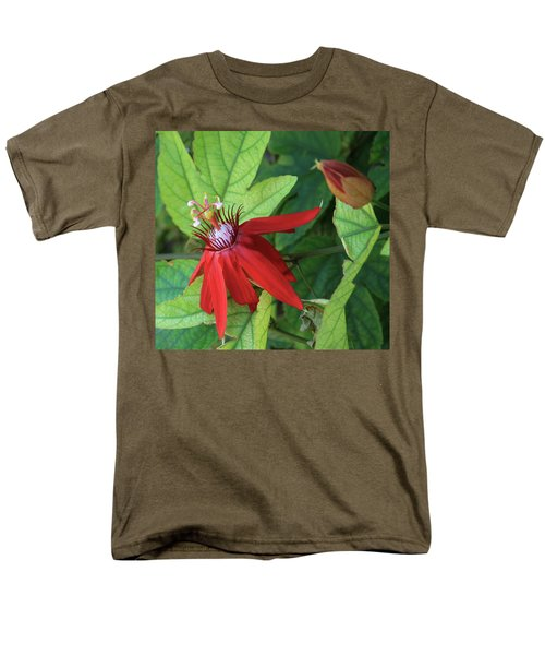 Men's T-Shirt  (Regular Fit) featuring the photograph Red Passion Bloom by Marna Edwards Flavell