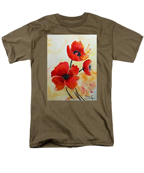 Red Poppies Watercolor Men's T-Shirt  (Regular Fit) by AmaS Art
