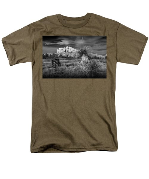 Men's T-Shirt  (Regular Fit) featuring the photograph Red Rock Formation In Sedona Arizona In Black And White by Randall Nyhof