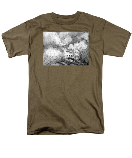 Men's T-Shirt  (Regular Fit) featuring the painting Red Top Mountain Bridge In Black And White by Gretchen Allen
