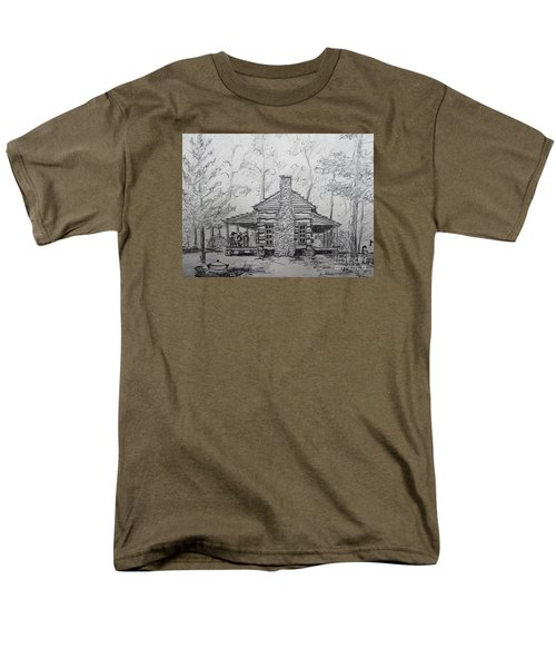 Men's T-Shirt  (Regular Fit) featuring the painting Red Top Mountain's Log Cabin by Gretchen Allen