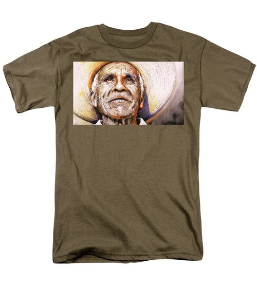 Men's T-Shirt  (Regular Fit) featuring the painting Reflections About Earth, Bronze And Sun by J- J- Espinoza