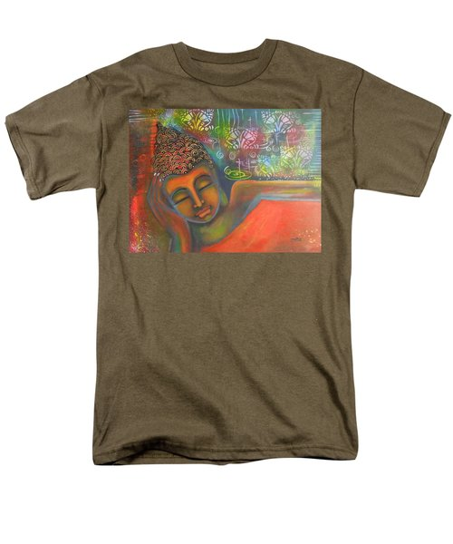 Buddha Resting Against A Colorful Backdrop Men's T-Shirt  (Regular Fit) by Prerna Poojara