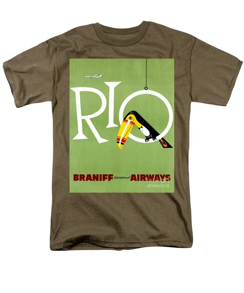 Rio Vintage Travel Poster Restored Men's T-Shirt  (Regular Fit) by Carsten Reisinger