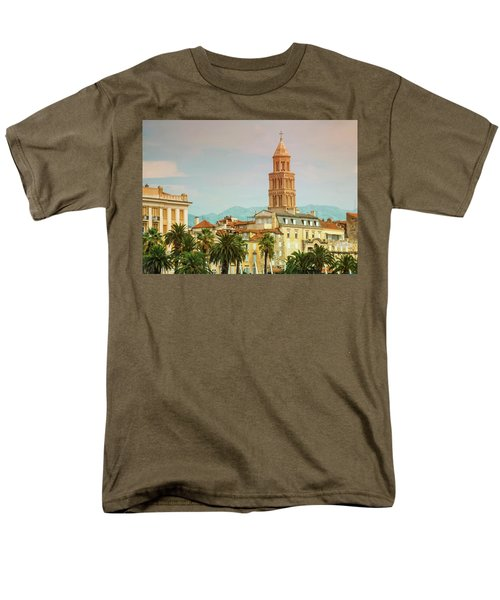 Riva Waterfront, Houses And Cathedral Of Saint Domnius, Dujam, D Men's T-Shirt  (Regular Fit) by Elenarts - Elena Duvernay photo