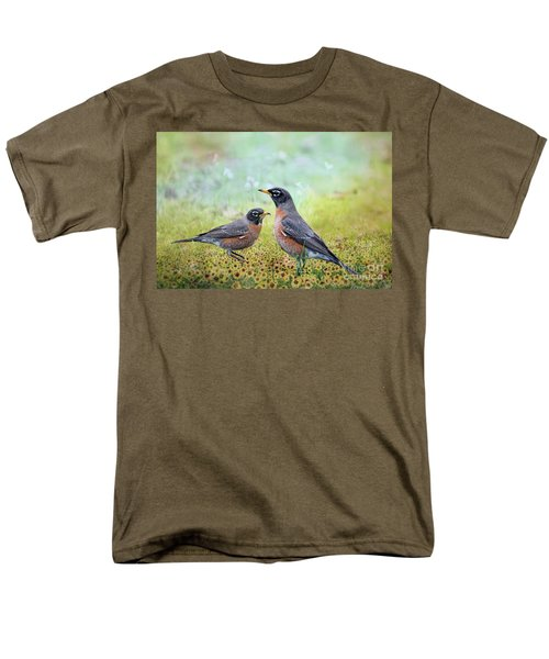 Men's T-Shirt  (Regular Fit) featuring the photograph Robins, Heralds Of Spring by Bonnie Barry
