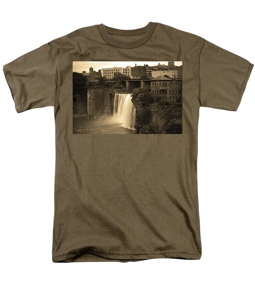 Men's T-Shirt  (Regular Fit) featuring the photograph Rochester, New York - High Falls 2 Sepia by Frank Romeo